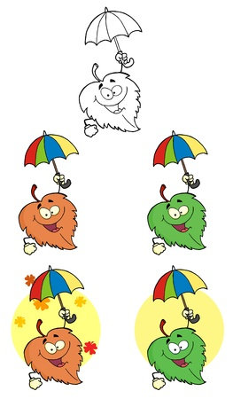 chloroplast: Leaf Cartoon Character With Umbrella