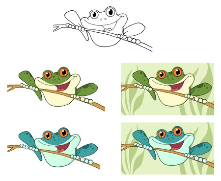 Happy Green Tree Frogs.Raster Collection Vector