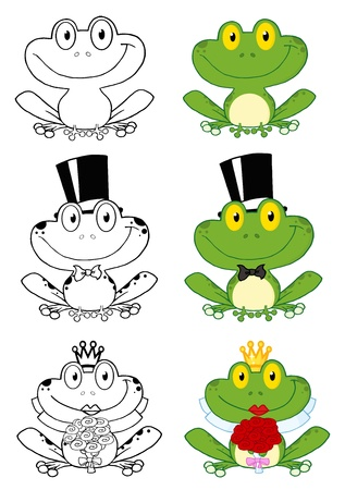 flower clip art: Cute Frogs Cartoon Characters Illustration