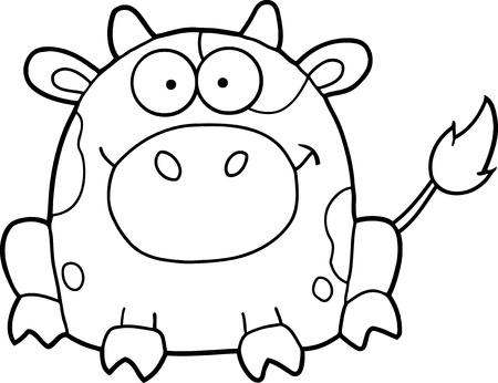 Cute Cartoon Cow Mascot Character
