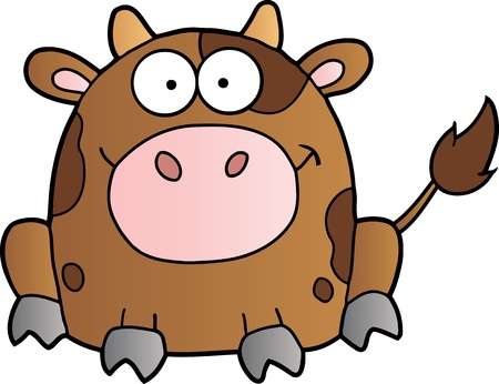 Cute Brown Cow Cartoon Mascot Character Çizim