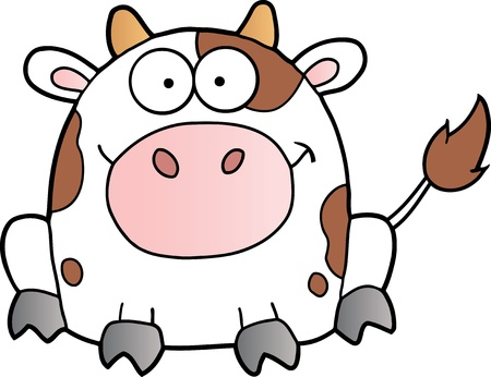 Cute White Cow Cartoon Mascot Character Çizim