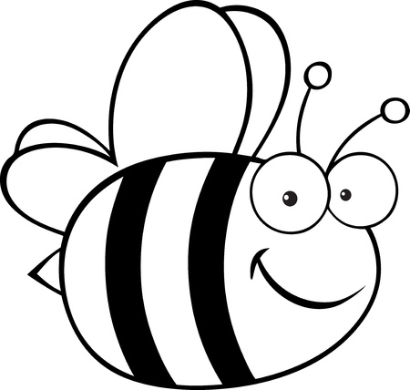cute bee: Outlined Cute Cartoon Bee
