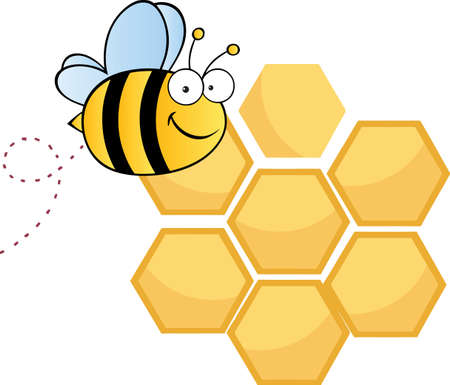 bee hive: Bee Cute Cartoon Character Flying In Front Of A Orange Bee Hives Illustration