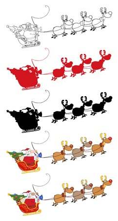 Santa Claus And Team Of Reindeer In His Sleigh Flying. Vector