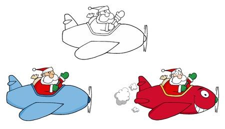 Santa Flying With Christmas Plane. Vector