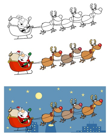 Christmas Santa Clause Sleigh With Reindeer. Vector
