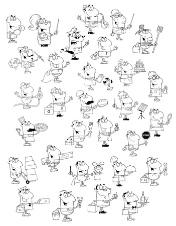 cartoon carpenter: Profession People.Big Vector Collection  Illustration