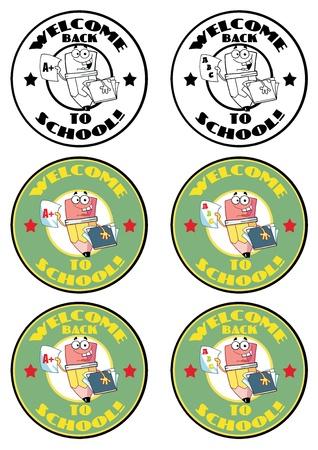 school: Cartoon School Banners-Pencil Guy