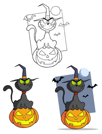 Black Witch Cat Vector