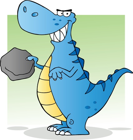 paleontological: Blue Dinosaur Cartoon Character Illustration