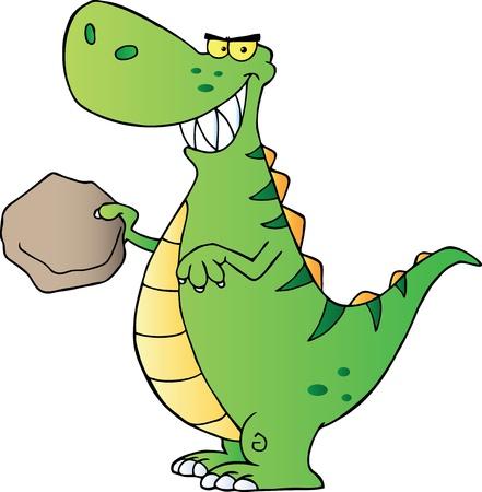 dinosaurio caricatura: Personaje de dibujos animados de dinosaurio verde Vectores