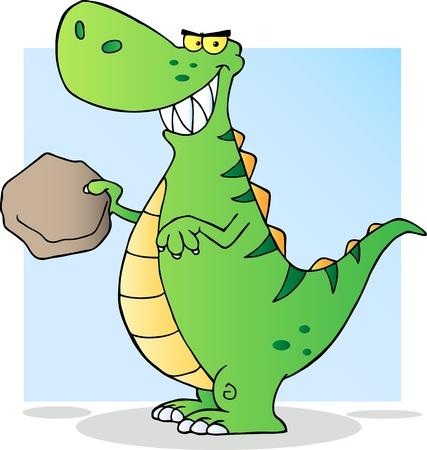 paleontological: Happy Green Dinosaur  illustration
