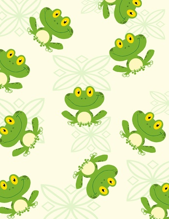 Seamless Pattern Happy Frog   イラスト・ベクター素材