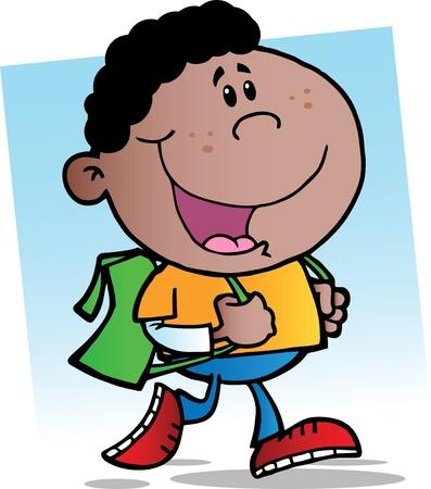 защитник: Африканский Walking американской школе мальчик Иллюстрация