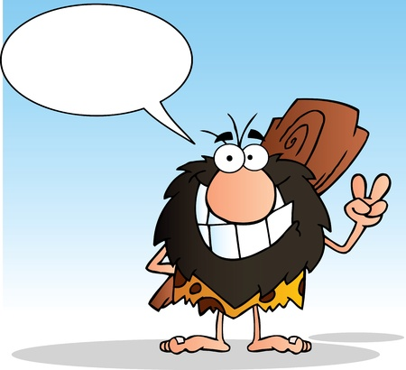cro magnon: Caveman Gesturing The Peace Sign With His Hand And Speech Bubble