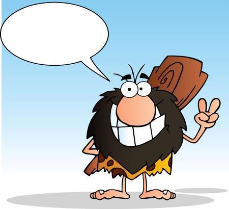 caveman: Cavern�cola gesticular el signo de la paz con su mano y bocadillo
