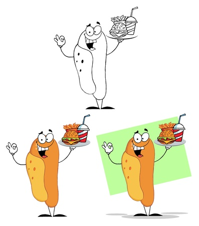 weiner: Hot Dog Cartoon Character  Illustration