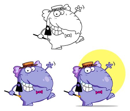 Happy Purple Elephant Dancing Vector