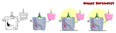 Cute Birthday Elephant  Vector