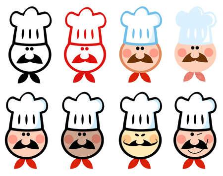 china cuisine: Different Chef Icon  Illustration