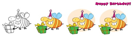Bday Grinning Bumbe Bee  Stock Vector - 10260643
