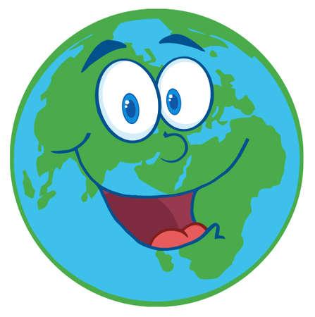 planeta tierra feliz: Personaje de dibujos animados de planeta tierra  Vectores