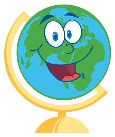 earth from space: Happy Desk Globe Cartoon Mascot Character
