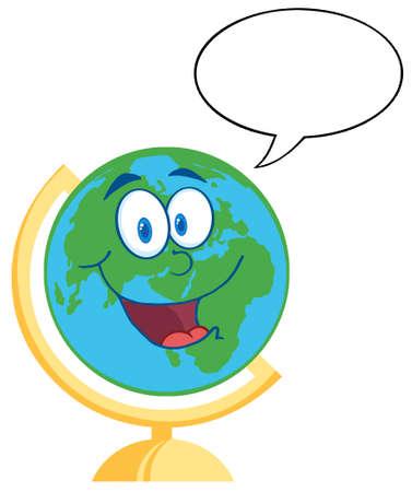 south east asia: Desk Globe Felice Con Speech Bubble Vettoriali