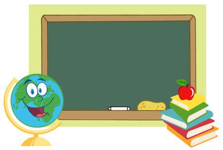 Happy Desk Globe By A Blank Chalk Board  Vector