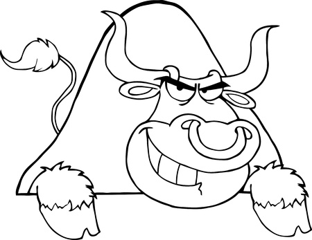 Outlined Bull Over A Sign Vector