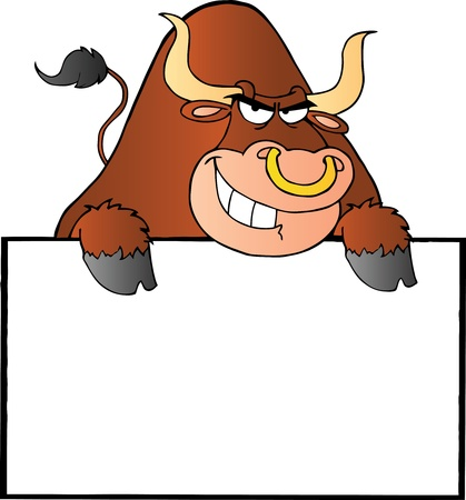 Brown Bull And Blank Sign