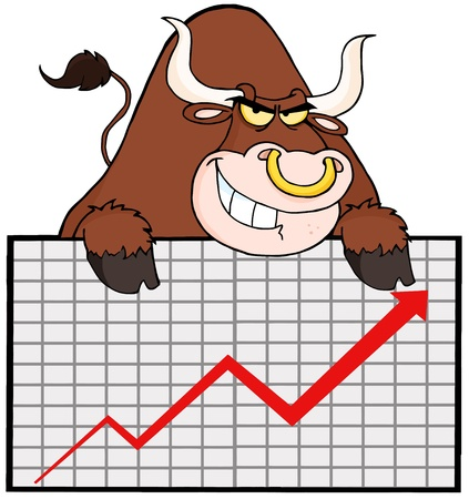 spanish bull: Brown Bull With Business Graph Illustration