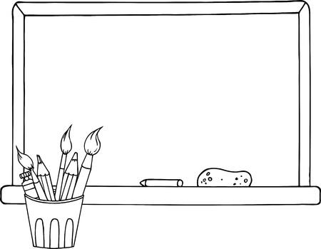 鉛筆と絵筆、黒板の前にポットの概説  イラスト・ベクター素材