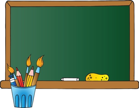 Pot With Pencils And Paintbrushes In Front Of A Chalkboard  Illustration