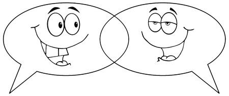 Outlined Cartoon Speech Bubbles Speak Stock Vector - 10391649