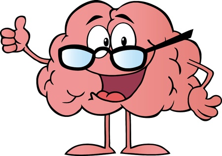genius: Brain Cartoon Character Giving The Thumbs Up