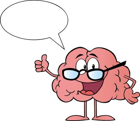 anatomy brain: Cervello personaggio dei cartoni animati rinunciare i pollici e parlare  Vettoriali