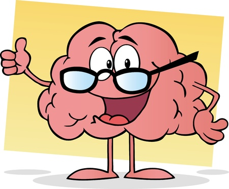 brain and thinking: Cartoon Brain Giving The Thumbs Up