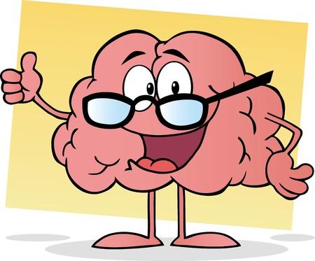 anatomy brain: Cervello Cartoon Dare i pollici in su