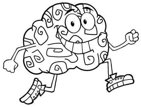 Outlined Running Brain Cartoon Character  Illustration