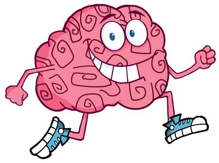 anatomy brain: Esecuzione di cervello personaggio dei cartoni animati  Vettoriali