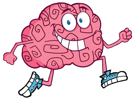 Running Brain Cartoon Character  Vector