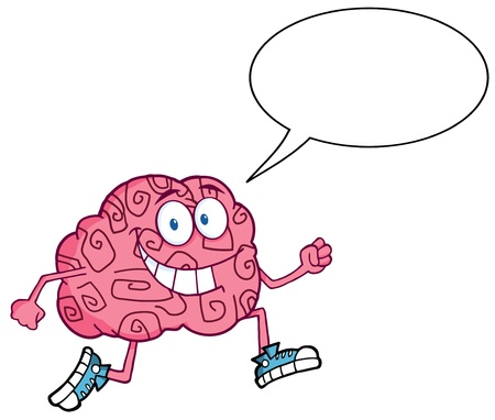 critical thinking: Running Brain With Speech Bubble