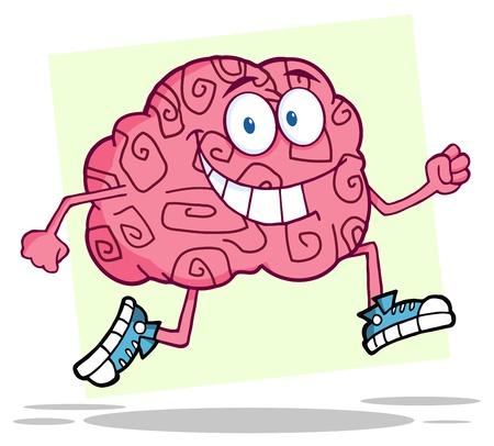 brain clipart: Running Brain  Illustration