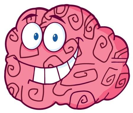 Happy Brain Cartoon Character  Vector
