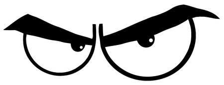 evil: Outlined Angry Cartoon Eyes Illustration