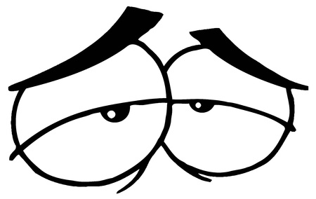 tired eyes: Outlined Pair Of Exhausted Eyes