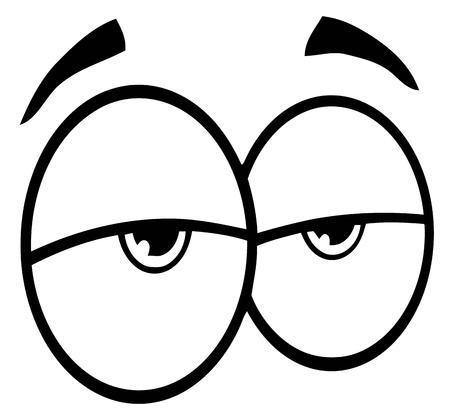 agotado: Esboz� los ojos tristes de dibujos animados Vectores