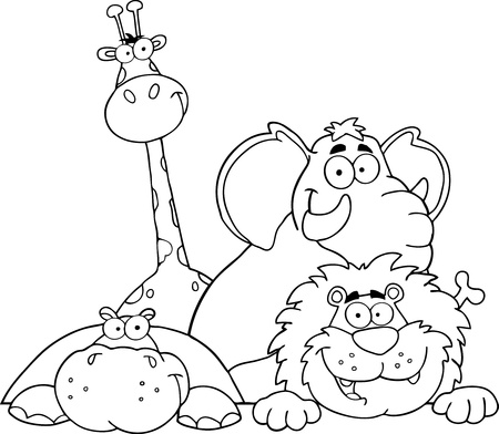 Outlined Four Jungle Animals Vector